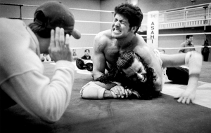 Black white photo reportage wrestling